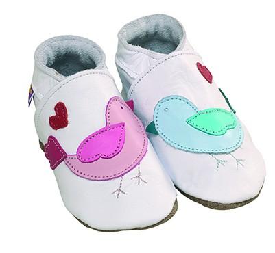Pantofiori din piele lucrati manual, Lovebirds-White, Starchid