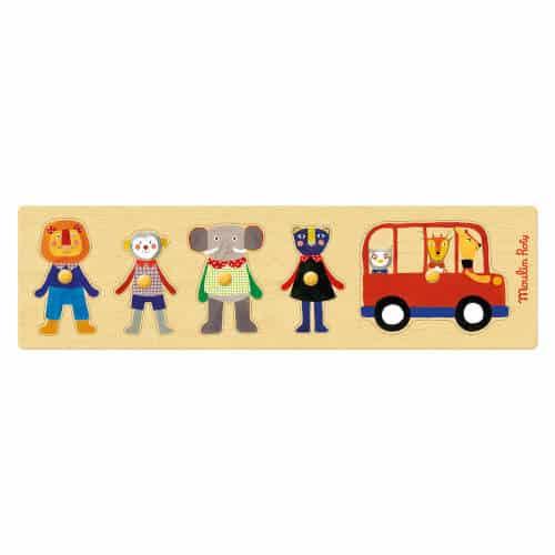 661323 Puzzle din lemn cu maner Pasageri Autobuzul Veseliei