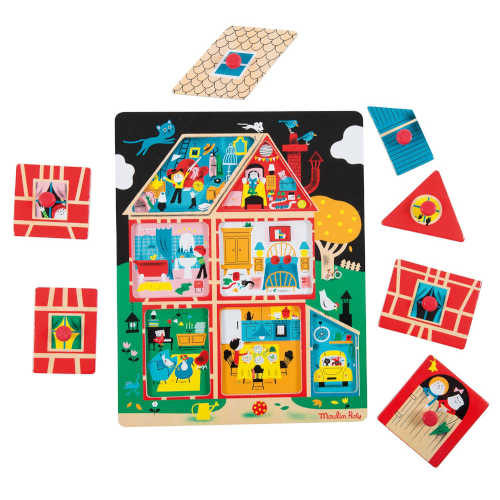 713302 Puzzle din Lemn Copii, 2-3 ani, Les Bambins Moulin Roty