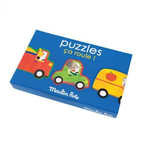 Puzzle copii 3 ani, Toti in masina, 32 de piese, Moulin Roty