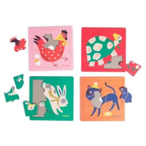 Set 4 jocuri puzelle , Animale, + 3 ani, Moulin Roty