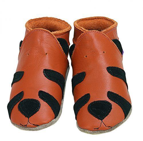 Pantofiori din piele pentru bebelusi TIger Orange
